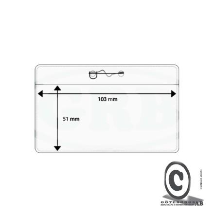 Plastficka, 103x51 mm med säkerhetsnål