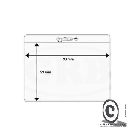 Plastficka, 93x59 mm med säkerhetsnål